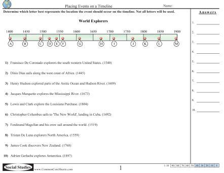 timeline worksheets