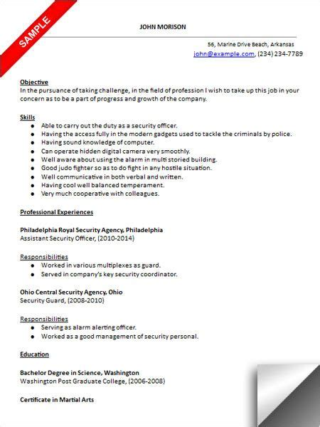 Entry Level Officer Resume by Security Officer Resume Sle Resume Exles