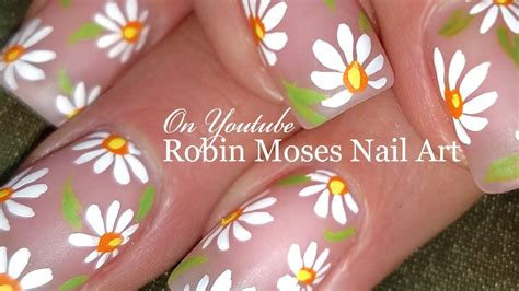 diy easy white daisy nails simple spring nail art design
