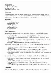 professional certified forklift operator templates to With forklift operator resume