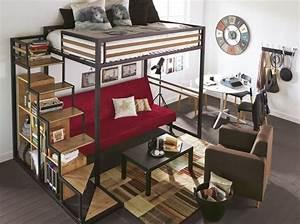 Petit Lit 2 Places : 10 solutions pour am nager le dessous d un lit mezzanine elle d coration ~ Teatrodelosmanantiales.com Idées de Décoration