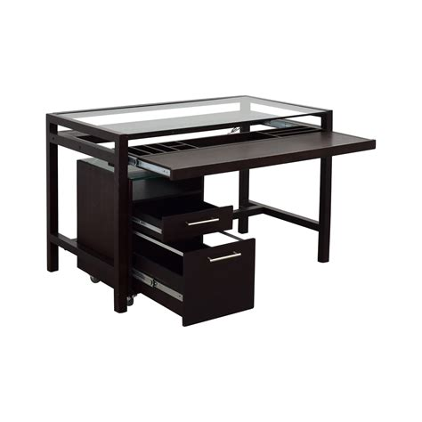 brown wood desk 90 glass top brown wood desk with file cabinet