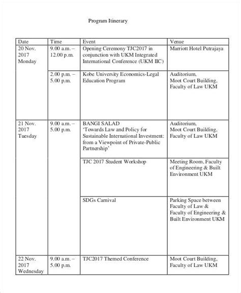 event itinerary template 38 event program templates pdf sle templates