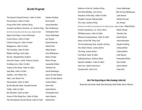 piano recital program template best photos of piano recital program sle piano recital program template piano recital