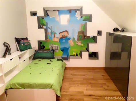 chambre minecraft deco murale à l 39 aerosol chambre ado jeux vidéos minecraft
