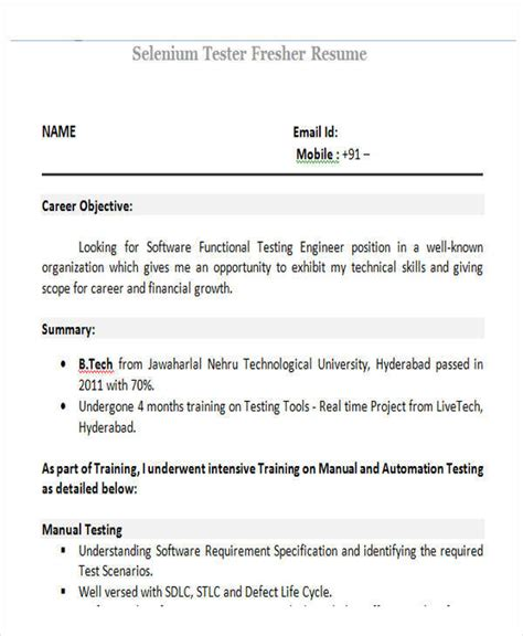 Automation Testing Freshers Resume Sles by 43 Professional Fresher Resumes