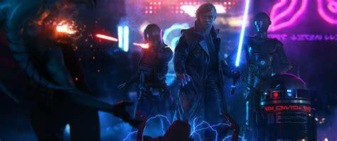 Wars Anime Wallpaper - luke skywalker wars cyberpunk lightsaber
