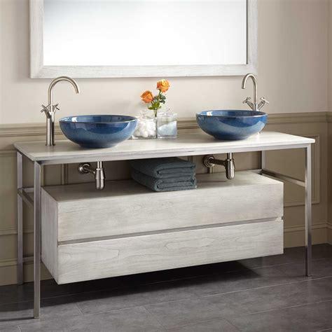 double vessel sink vanity 60 quot roeding teak vessel sink vanity light gray double