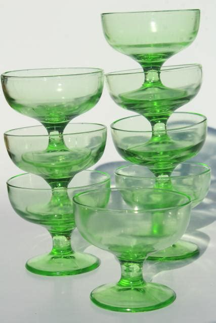 vintage green depression glass sherbets  ice cream bowls soda fountain dishes