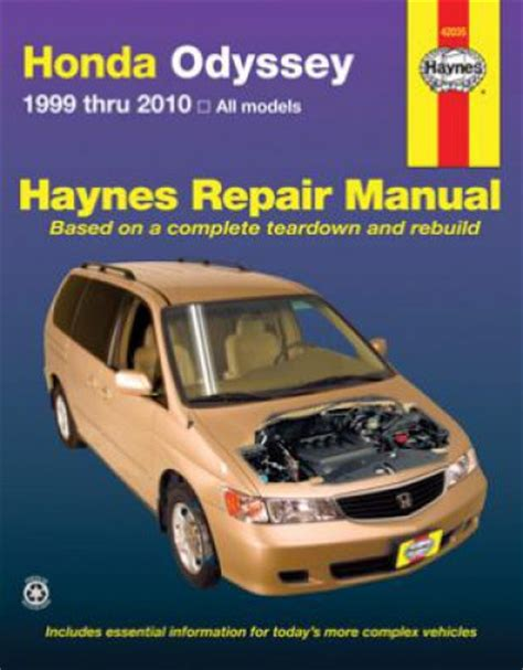 car repair manuals download 1999 honda odyssey parking system haynes honda odyssey 1999 2010 automotive repair manual