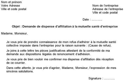 modele lettre mutuelle obligatoire employeur refus de mutuelle d entreprise comment le demander par