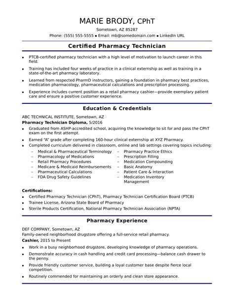 entry level pharmacy technician resume sle