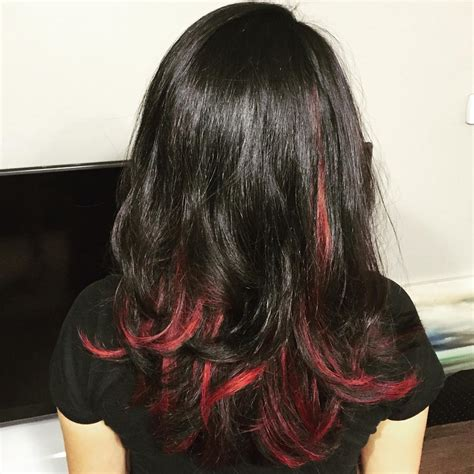 breathtaking red highlights styles flames   hair