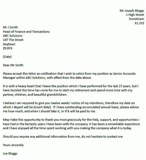 retirement resignation letter  resignation letter