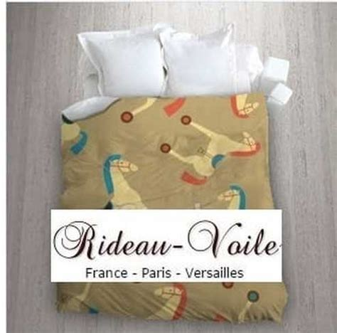 housse couette tissu motif cheval