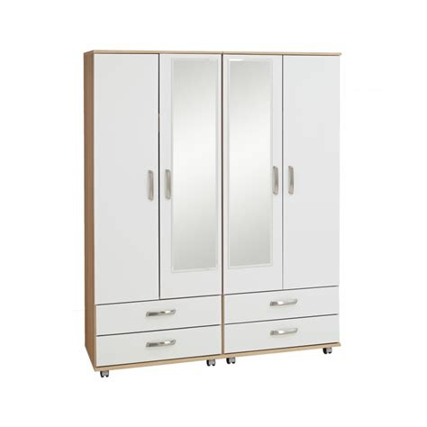 Wardrobe With Drawers And Mirror by Regal 4 Door 4 Drawer Wardrobe With Mirrors Budget Beds