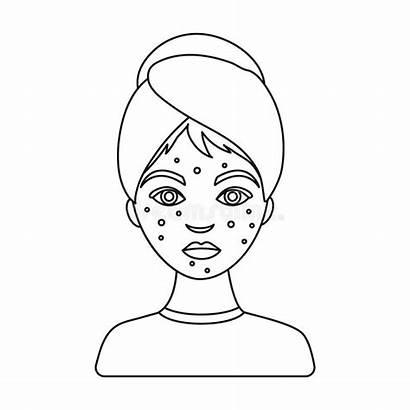 Icon Acne Skin Care Outline Symbol Woman