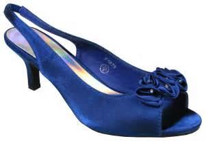 navy blue bridesmaid shoes womens navy blue satin low heels slingback wedding bridesmaids shoes size 3 8 ebay