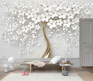 3d, Gold, Tree, Floral, White, 3d, Floral, Wall, Mural, Wall, Art