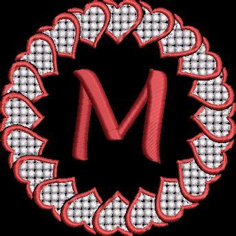 valentines day hearts monogram alphabet machine embroidery design