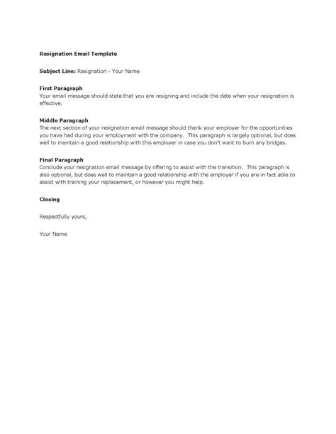 email resignation letter resignation letter sle