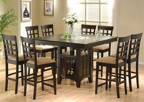 Pub Style Dining Room Sets With Dark Brown 8 Chairs With