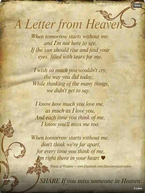 Watch Over Me From Heaven Quotes