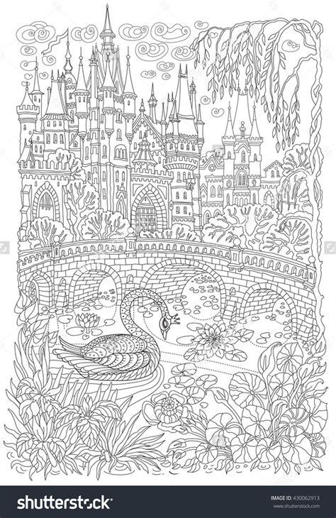 fantasy landscape fairy tale castle stylized swan bird