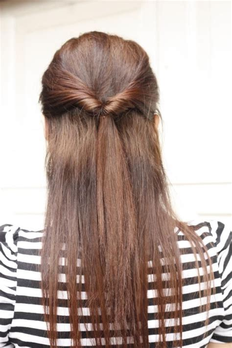 quick half up style for long straight hair tied by