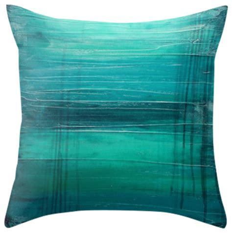 Contemporary Decorative Pillows by Quot Lagoon Quot Teal Home Decor Modern Throw Pillow