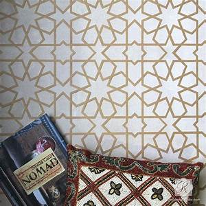 Tile stencils for walls floors and diy kitchen decor for What kind of paint to use on kitchen cabinets for large leaf wall art