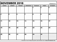 November 2018 Calendar Canada weekly printable calendar