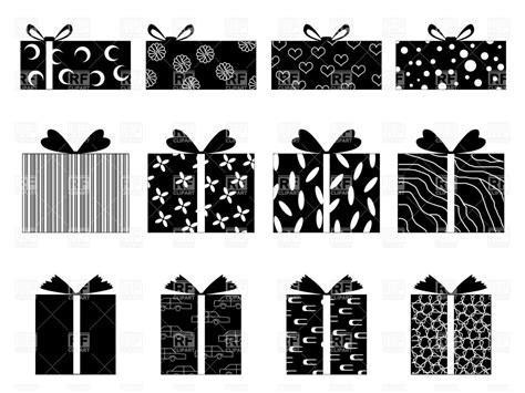 Simple Silhouettes Of Gift Boxes Vector Image Of Objects