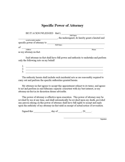 florida limited power  attorney form legalformsorg