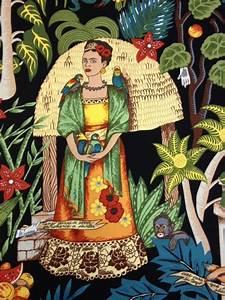 Frida Kahlo Garden Mexico Art Black Heavy Canvas Cotton