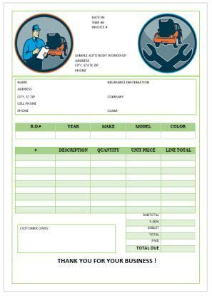 garage repair invoices template invoice template