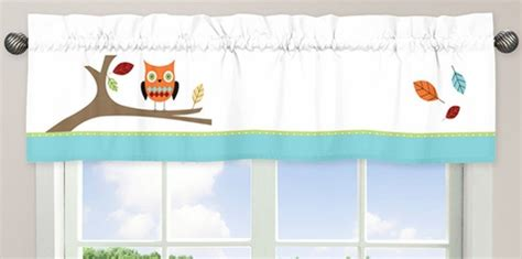 turquoise and lime hooty owlwindow valance by sweet jojo