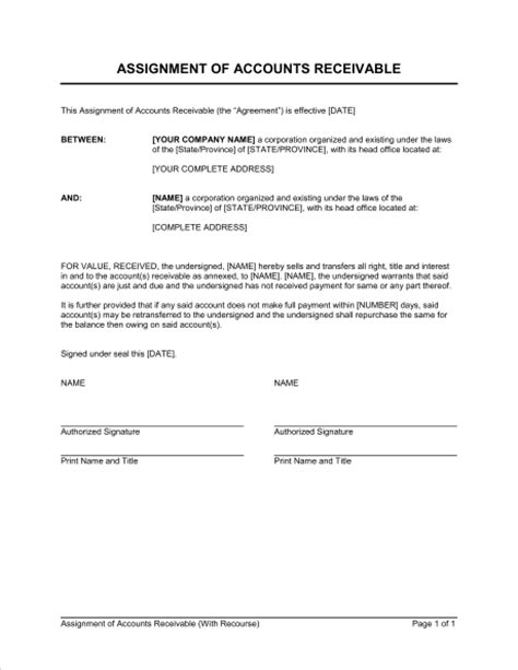 assignment  accounts receivable  recourse template