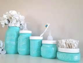 Painted Mason Jars Bathroom