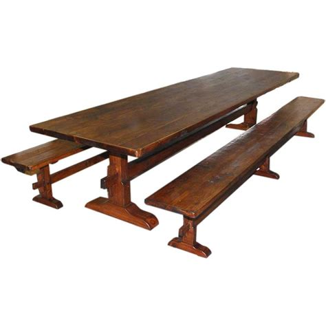 vintage trestle table trestle table and benches made from reclaimed antique pine 3261