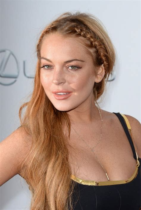 braided long hairstyle long strawberry blonde side swept head braids lindsay lohans