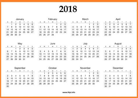 Landscape Format Printable Calendar 2018 A4 Landscape Format 2018