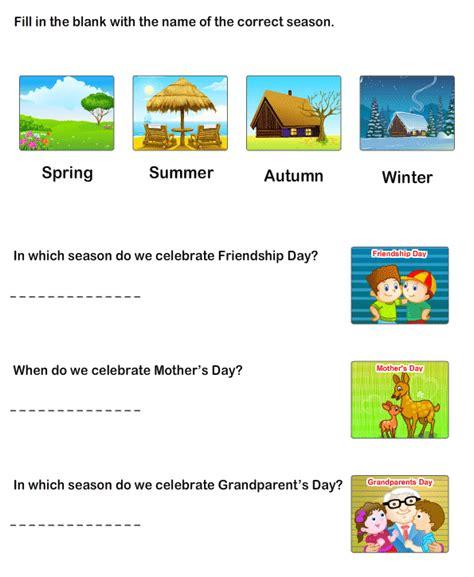 seasons worksheets kids printable educational worksheets