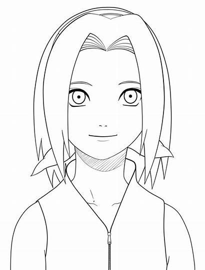 Sakura Naruto Coloring Lineart Drawing Pages Jane