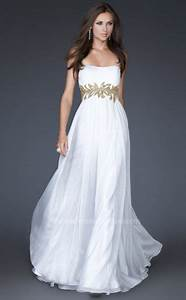 La Femme White Gold Floral Hand Painted Waist Chiffon Prom ...