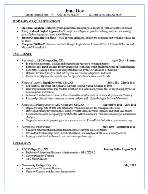risk analyst resume  financial marketing analysis