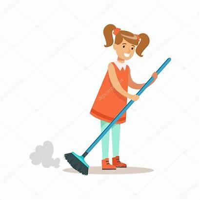 Cartoon Floor Kid Cleanning Dust Character Della