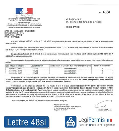modele de lettre pour repasser un examen lettre 48si invalidation du permis que faire legipermis