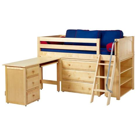 low loft bed with desk kicks low loft bed with dressers bookcase and desk