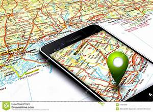 Mobile Phone With Gps And Map In Background Stock Image